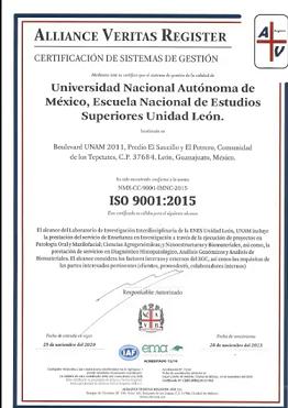 CERTIFICACIÓN DE CALIDAD PARA LABORATORIO, RECONOCIDA EN EL MUNDO